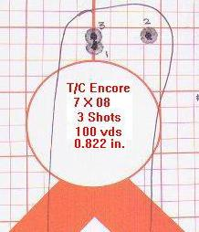 [A typical target fired with my T/C Encore pistol at 100 yds. from the bench]